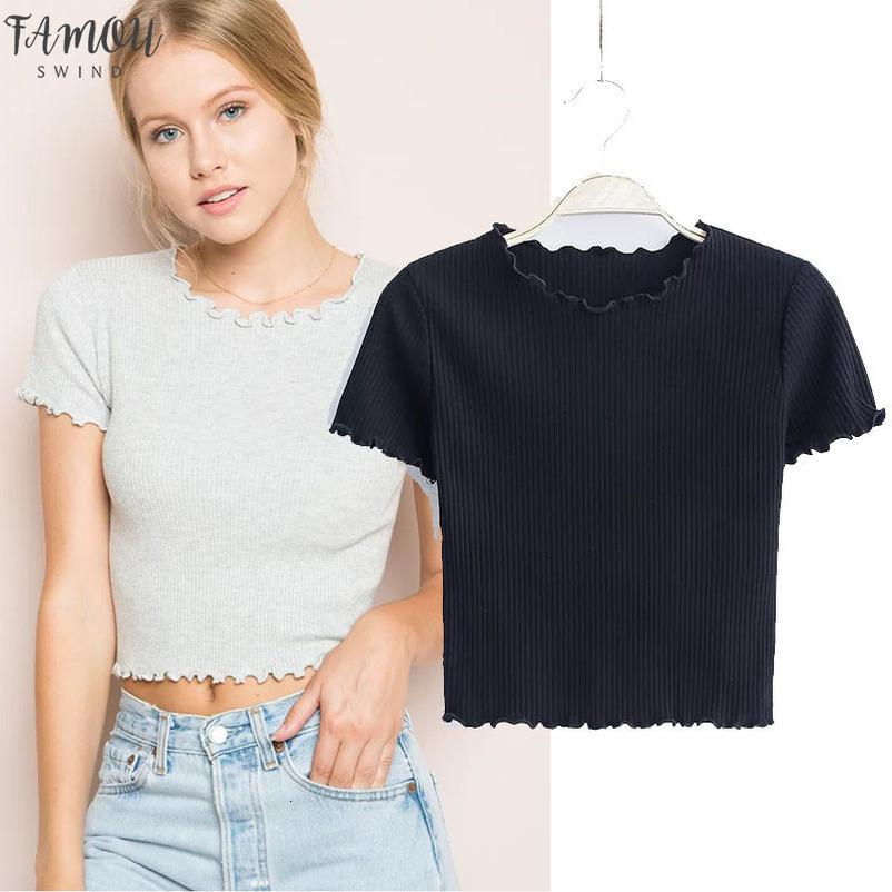 Bois oreilles courtes O cou à manches courtes T-shirt 2020 Nouveau Femme Slim Fit T-shirt Tight T été Hauts 6 couleurs