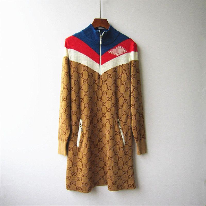 Prefall 20 Mulheres G Family Dress '; S Matching manga comprida Semi alta Zipper Vestido Brown Jacquard Letters Knit Skirt