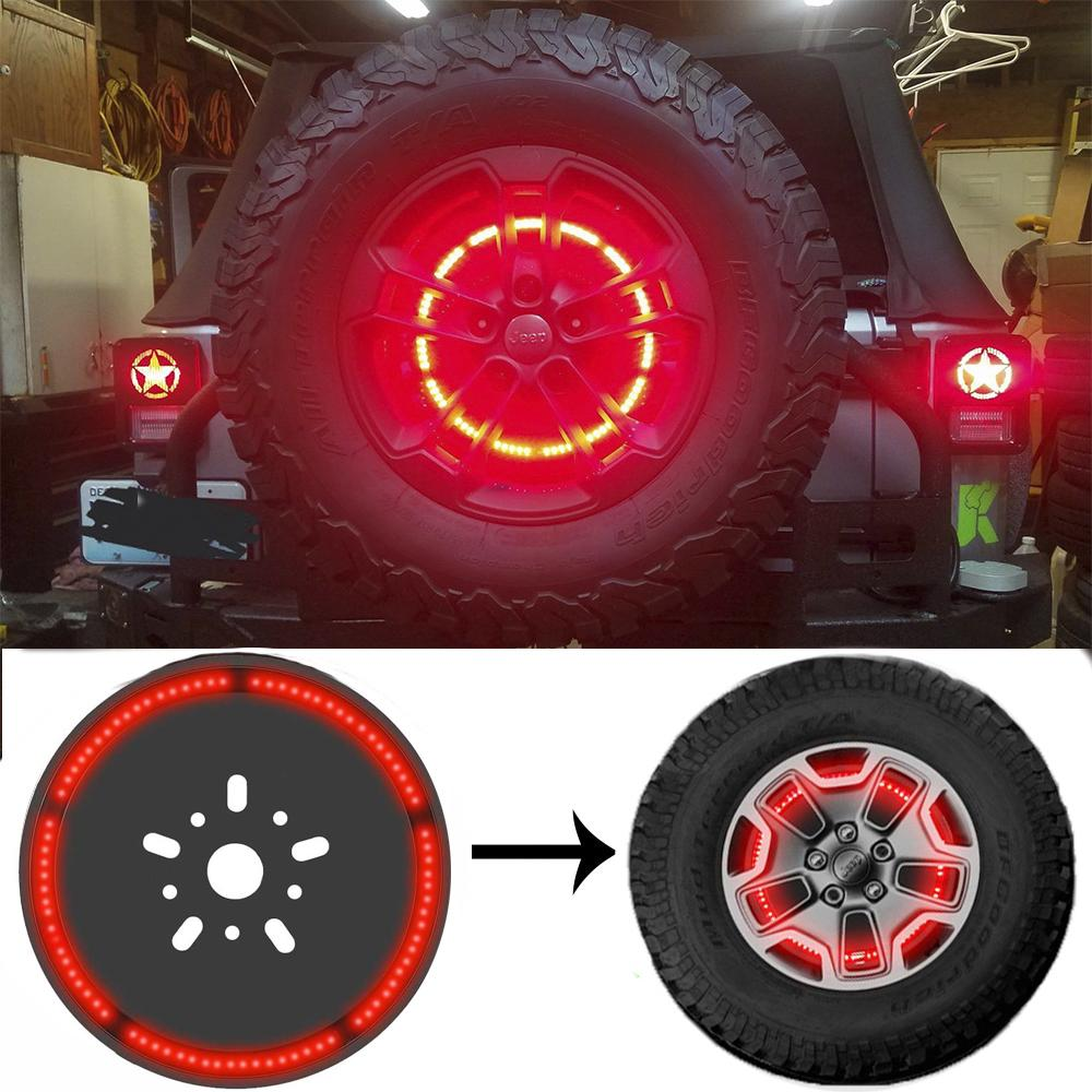 스페어 타이어 브레이크 라이트 휠 라이트 LED 제 3 제 3 브레이크 라이트 램프 링 JEEP WRANGLER 1997-2018 JK TJ LJ YJ CJ