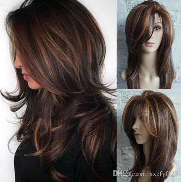 Ladies Wig Gold Brown Highlights Ombe Gold Brown Highlights Omber Long Curly Hair Fluffy Pear Flower Buckle Middle Long Straight Hair Fzp149 High End