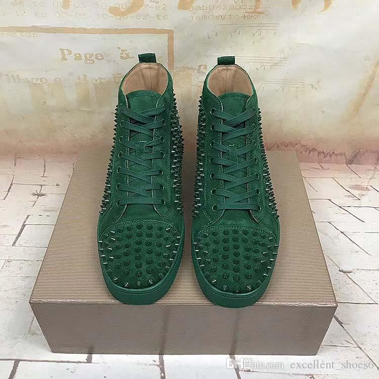 Casual scarpe piattaforma di fascia alta in metallo personalizzato picchi costellato scarpe casual Red fondi per gli uomini scarpe da ginnastica alte Y1 vera pelle