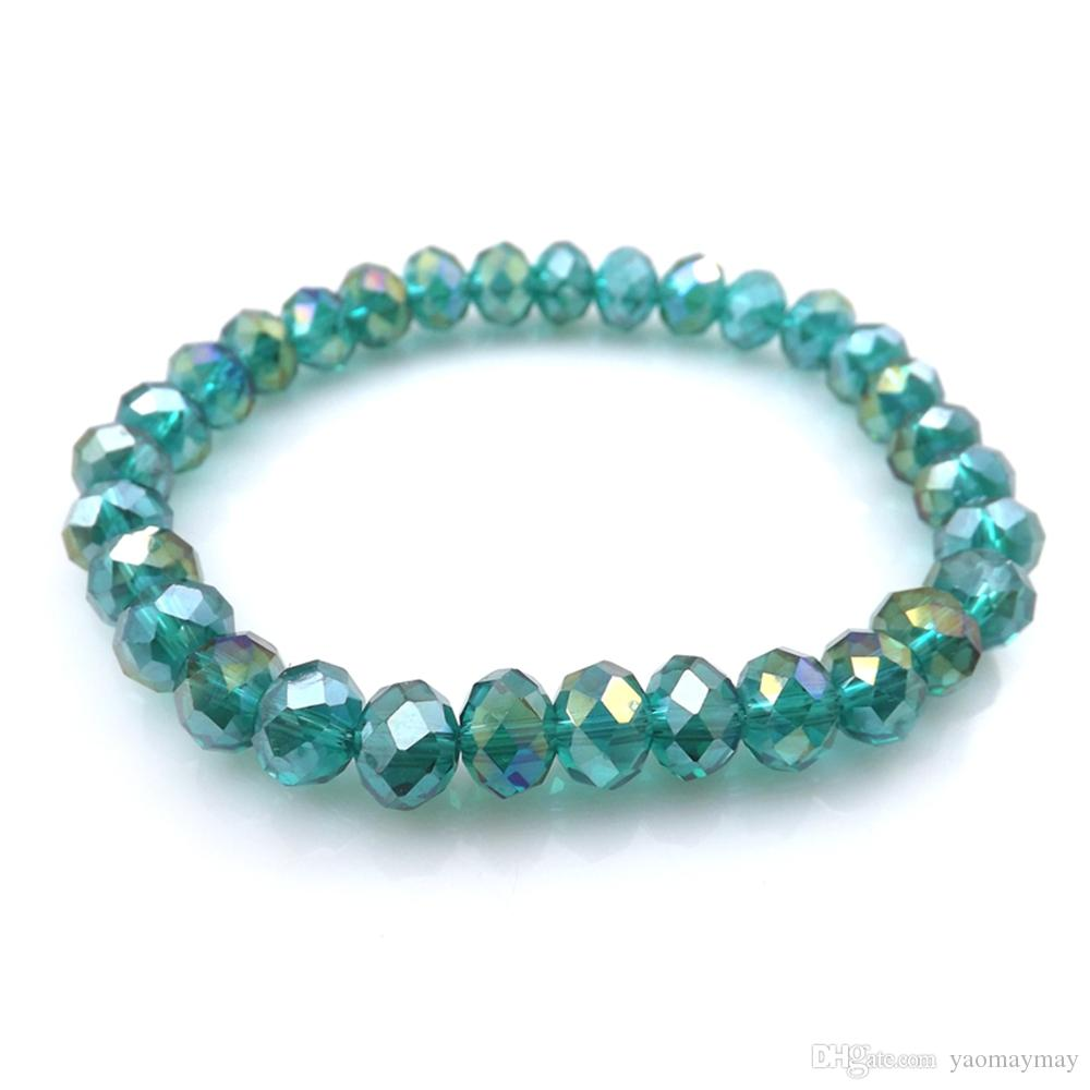 Peacock AB Color 8mm Faceted Crystal Beaded Bracelet For Women Simple Style Stretchy Bracelets 20pcs/lot Wholesale