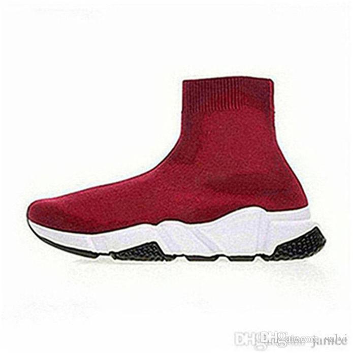 2019red scarpe da ginnastica nuove di design a basso costo strisce moda nero con la suola piatta calze spesse stivali casuali da jogging nero scarpe bianco rosso