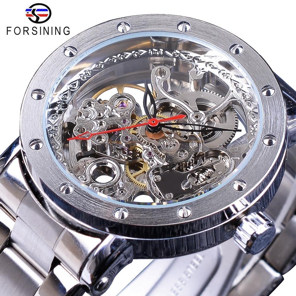 Forsining prata esqueleto relógios de pulso preto ponteiro vermelho cinto de aço inoxidável de prata relógios automáticos para homens transparente relógio slze134