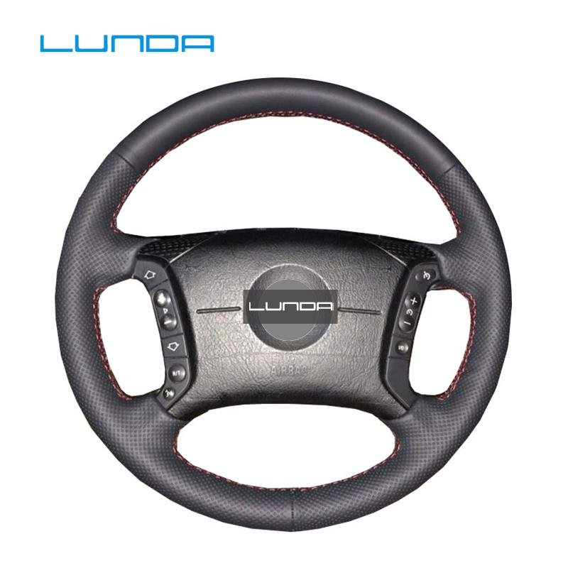 الجملة جلد مخيط اليد لتوجيه السيارات تغطية عجلة القيادة لسيارات BMW E46 318I 325I E39 E53 X5 DIY تغطية عجلة القيادة