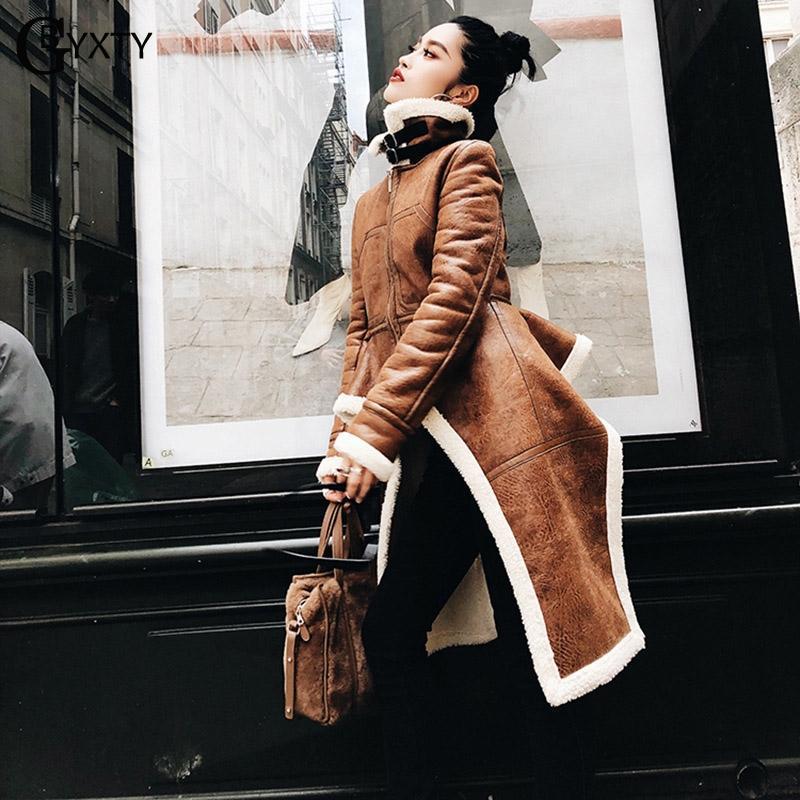 GBYXTY Yüksek Sokak Düzensiz Yün Ceket ve Ceket Kadınlar Kış Balıkçı Yaka Uzun Kollu Faux Deri Ceket Casual Palto ZA1265