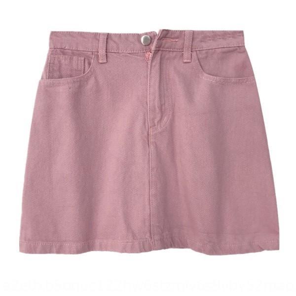 All-сопрягать сплошной цвет женской высокой талии тонкий случайные A- линия платье студенческую A- ЛИНИЯ Denim Джинсовая юбка юбка мода