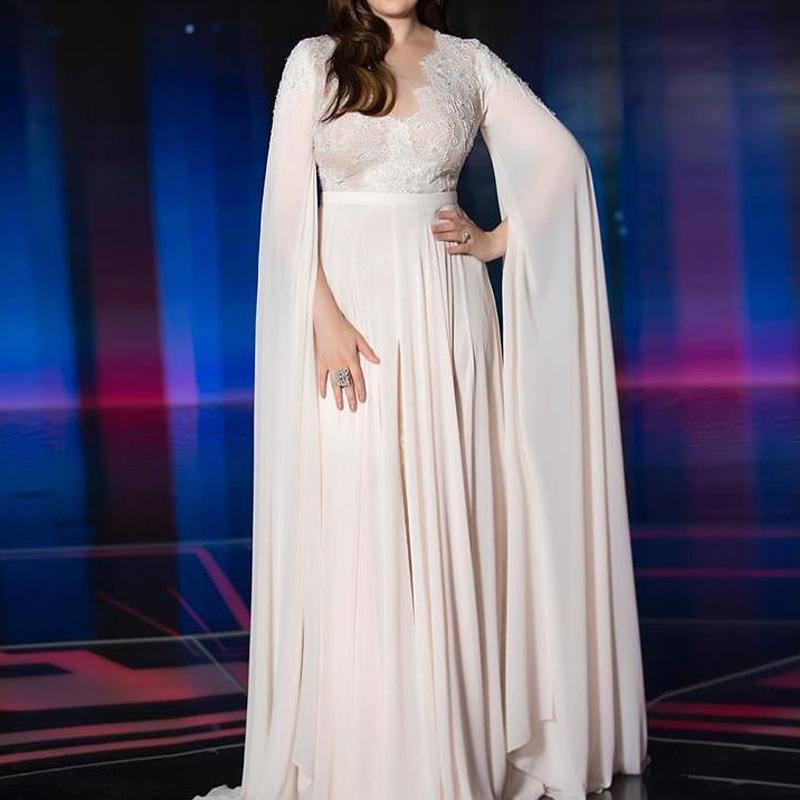 2020 Árabe simples cuentas de encaje vestidos de noche de la gasa del cuello Sheer Prom Vestidos Fiesta formal Vestidos de dama túnicas de soiree
