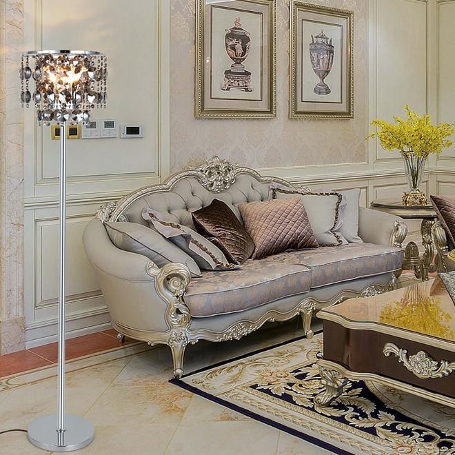 New design creative modern luxury D 35cm x H 160cm smoky crystal floor lights led standing lamp for reading room bedroom side sofa