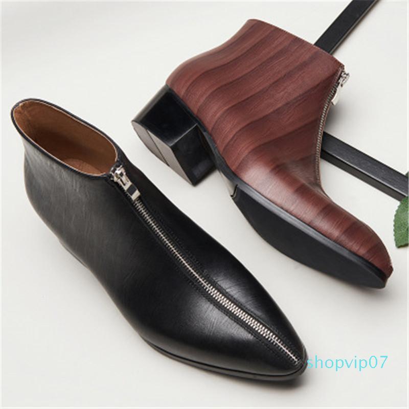 Erkekler Sivri Burun Oxford Düğün Gentleman Yüksek Kaliteli Ayakkabılar 2020 İlkbahar Gerçek Deri Çizme 10 # 22 / 20D50