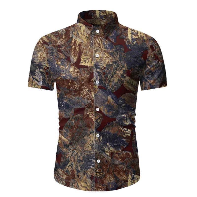 camisa dos homens Hawaii Impresso emenda Pattern Moda Casual lapela Homens de manga curta masculina camisa camisa além de roupas de tamanho