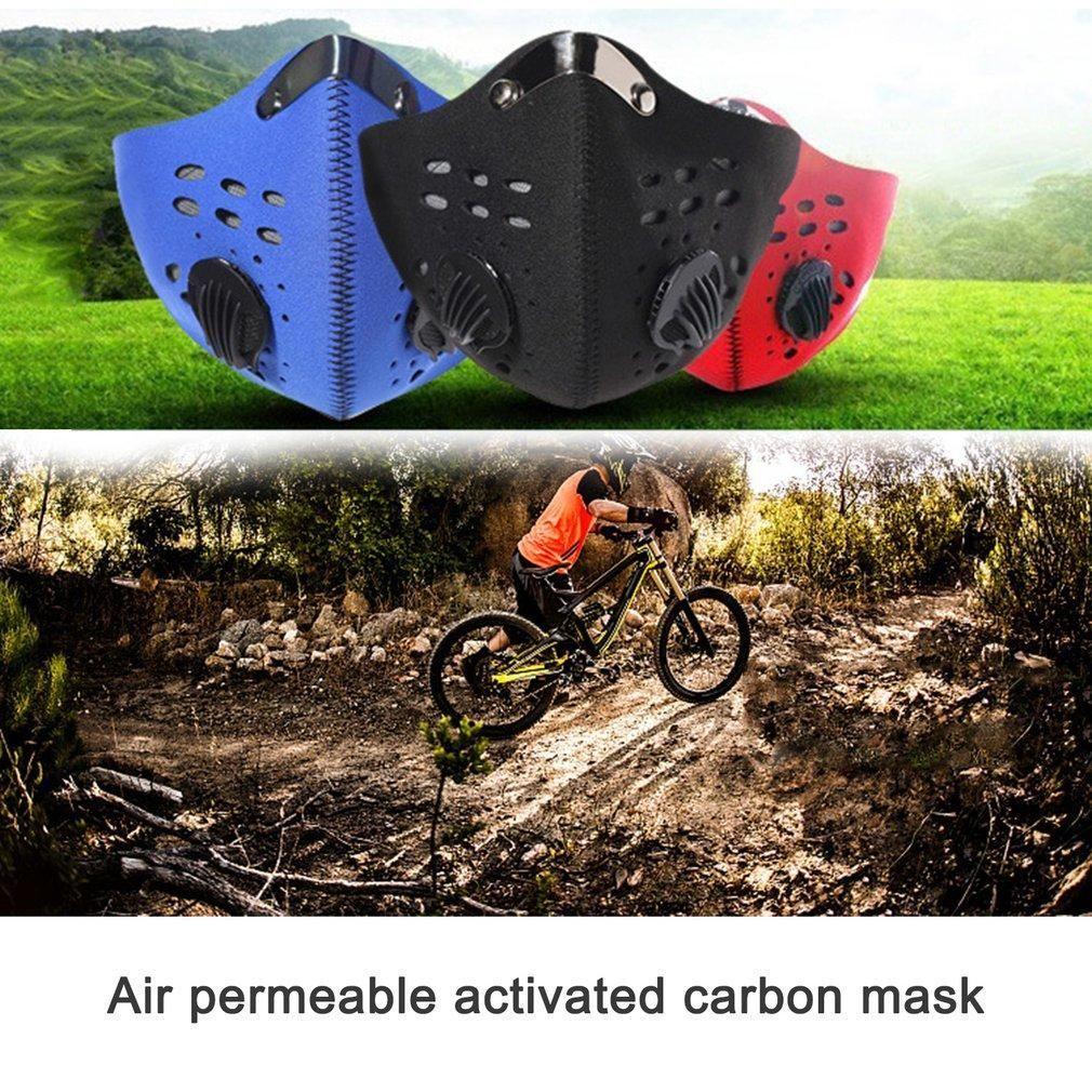 Bisiklet Yarım Yüz PM2.5 Karbon Filtre İki Exhale Vanalar Kamuflaj toz geçirmez Karşıtı Kirliliği Duman Yüz Spor Kalkanı Maskesi FY9 Maskesi