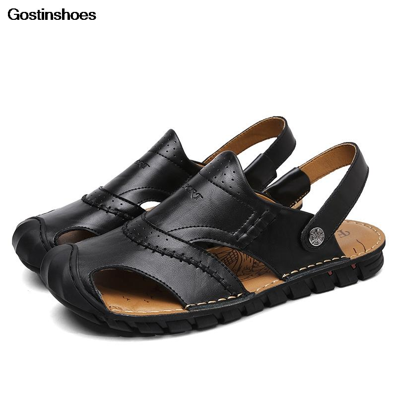 Mann-Schuh-echtes Leder-Mann-Sandelholz-geschlossene Zehe Sommer Freizeitschuhe Sandalen Hombre Cuero Sandalen Para Hombre