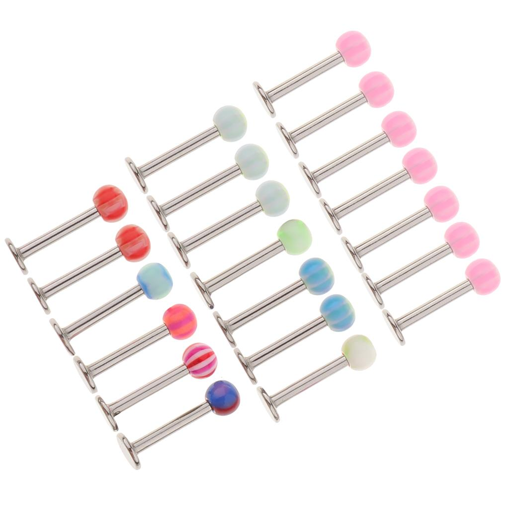 20Pcs Multicolor Round Acrylic Ball Lip Ring Labret Ear Tongue Studs Nose Piercing Jewelry - 1.2mm