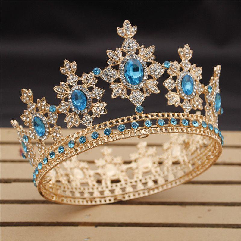فاخر التيجان الملكية الملك زفاف ولي العروس والمجوهرات تيجان الملكة الشعر كريستال الإكليل حفلة موسيقية غطاء الرأس رئيس الملحقات مسابقة T200108
