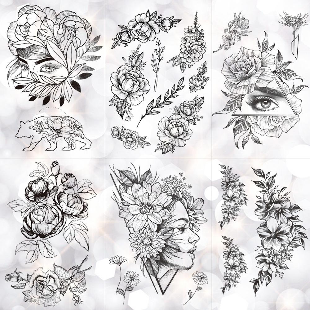 Geométrica Flor Rosa Olho Deixa À Prova D 'Água Etiqueta Do Tatuagem Temporária Peônia De Diamante Preto Tatuagens Body Art Braço Falso Tatoo