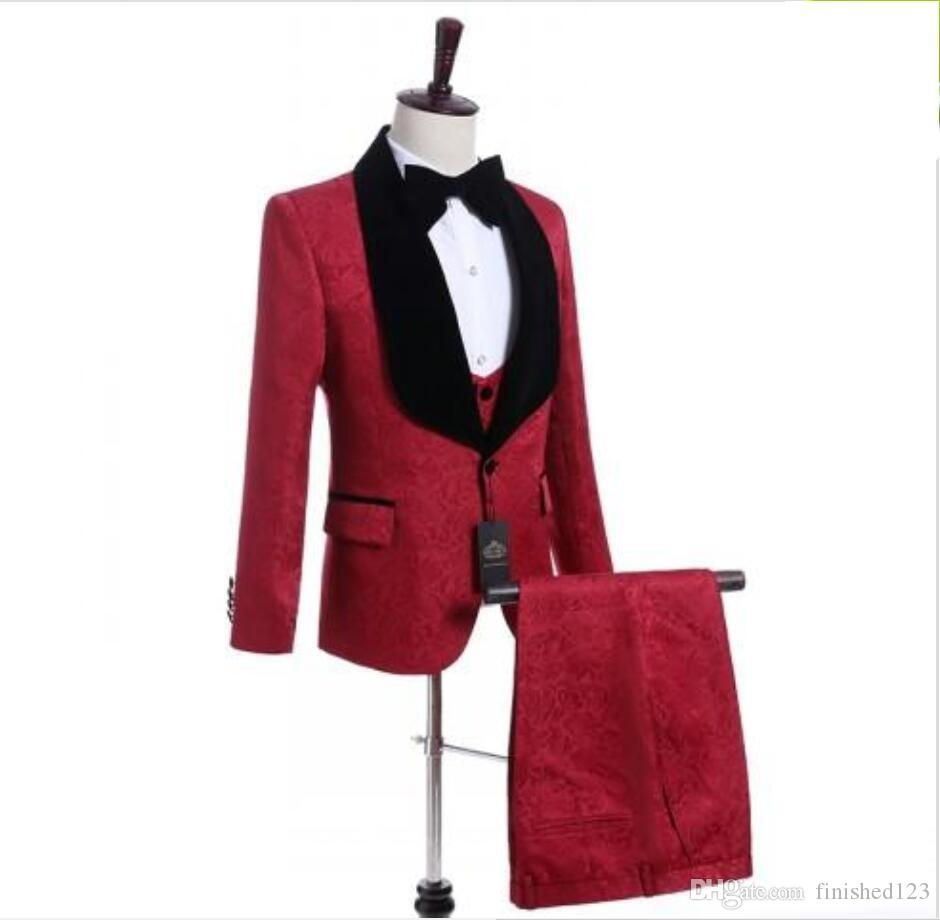 New Arrival One Button Red Paisley Wedding Groom Tuxedos Shawl Lapel Groomsmen Men Suits Prom Blazer (Jacket+Pants+Vest+Tie) W16