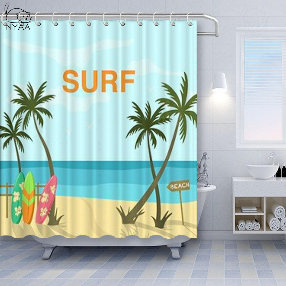 Polyester Fabric Bathroom Waterproof Shower Curtain Coconut Tree Tropical Beautiful Scenery Cartoon illustration Seaside Beach Curtains