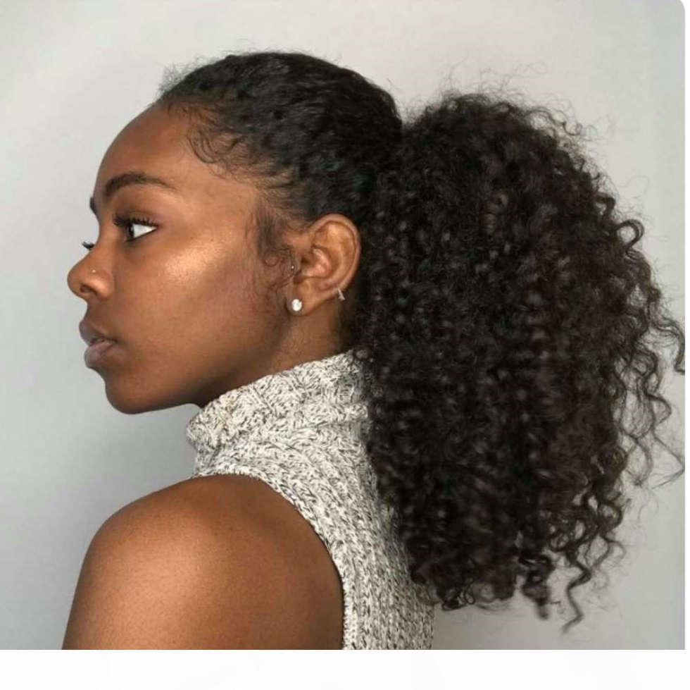 riccio crespo dei capelli estensione dei capelli umani coda di cavallo di 100% per le donne nere Clips 1b naturale coulisse parrucchino coda di cavallo per le donne nere