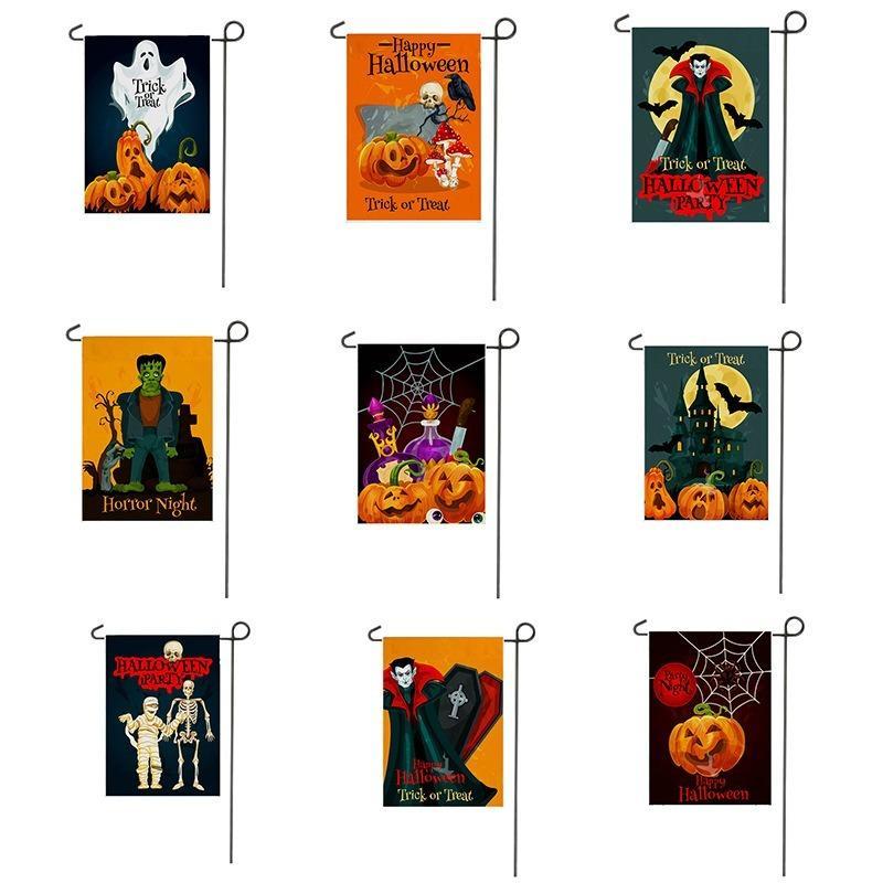 Vente chaude Drapeau européen et américain Halloween Jardin Polyester 18,5 * 12.6inch Cour Décoration Drapeau de soutien Personnalisation