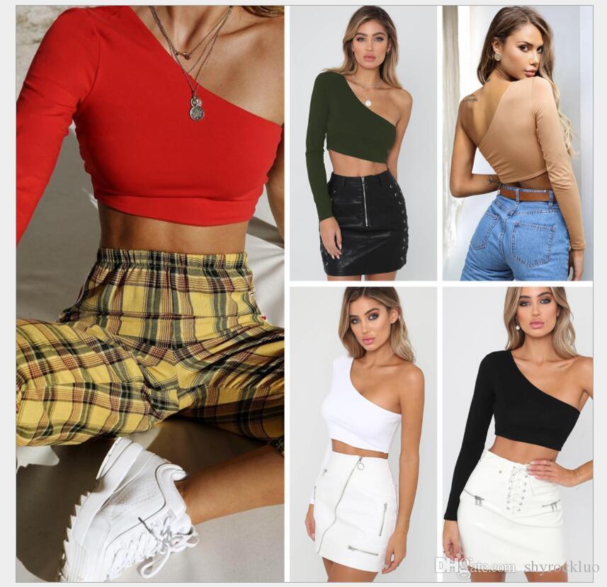 2019 neue frühling sommer mode sexy frauen slant schulter langarm crop top damen tops ins stil hipster kleidung club sexy tops