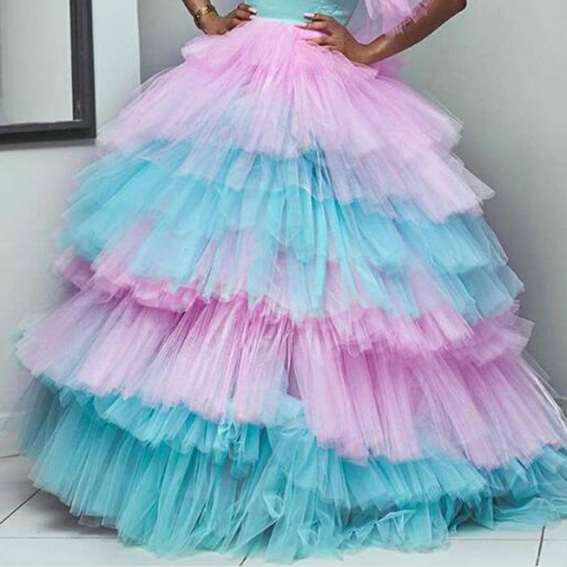 Fashion Colorful Mix Color Puffy Tulle Skirts For Bridal Lush Tiered Ruffles Tutu Long Ball Gowns Tulle Skirt Women Elastic