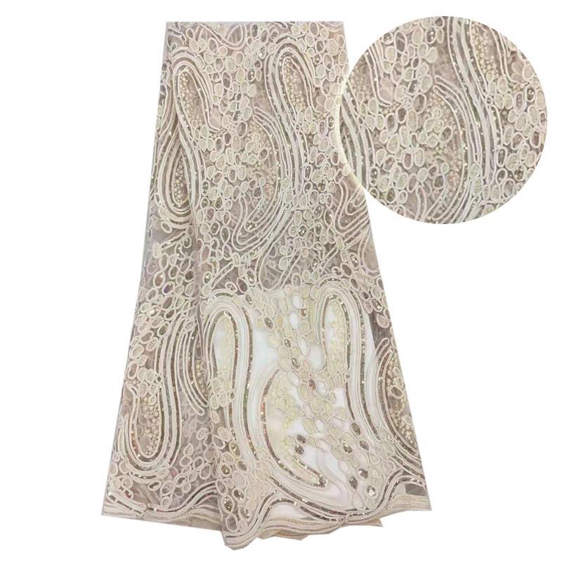 5 yardas 2018 Últimas telas de cordones nigerianos franceses de alta calidad de tul africano cordones de tela de lentejuelas de boda de encaje de tul francés h1300