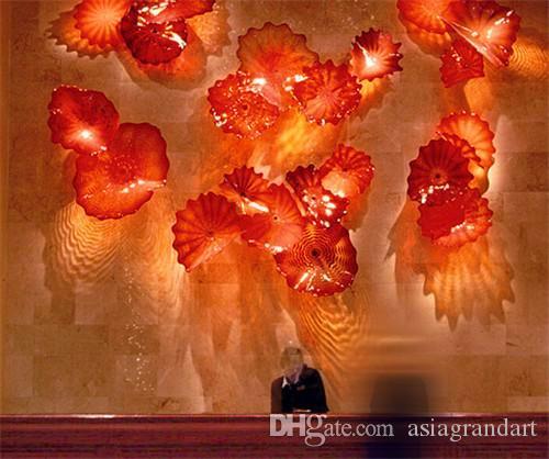 Hotel Lobby Decor Blown Glass Wall Plates Art Flower Murano Glass Wall Art for Wall Decoration