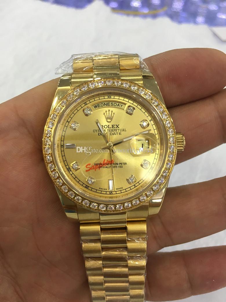 Mit original boxLuxury Fashion-Uhren Top-Qualität 18k Gelbgold Diamond Dial Lünette 18038 Uhr-automatische Männer Uhr-Armbanduhr