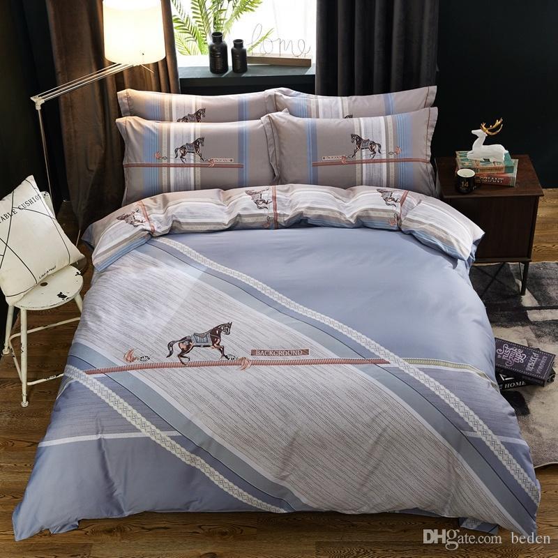 projetos de algodão macio 40 * 40/133 * 72 reativa roupa de cama lençol de impressão quatro peças de cama set, projeta desenhos animados da flor tira beil rosa azul vermelho