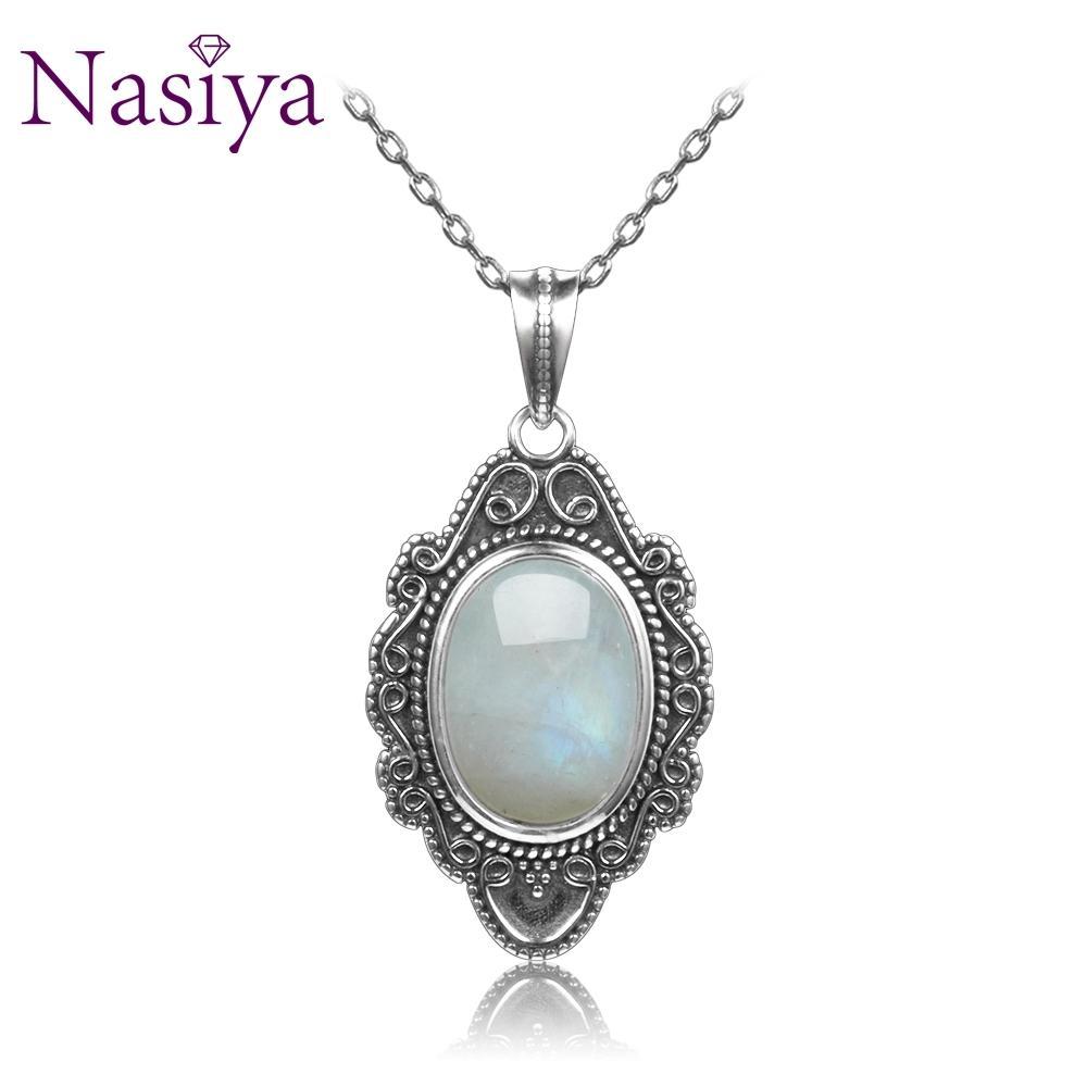 Насия классический натуральный Лунный камень ожерелье подвески стерлингового серебра 925 пробы ювелирные изделия для женщин партия День Святого Валентина подарки с цепочкой