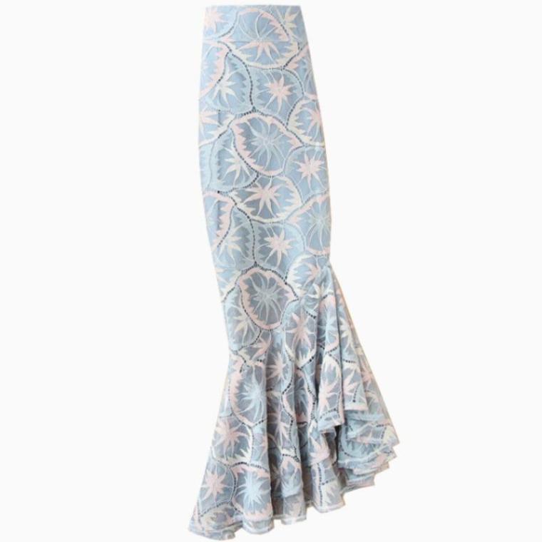 más tamaño 4XL! 2020 del cordón del verano mujeres de la falda de cintura alta trumpst impresa mermias paquete falda de la cadera