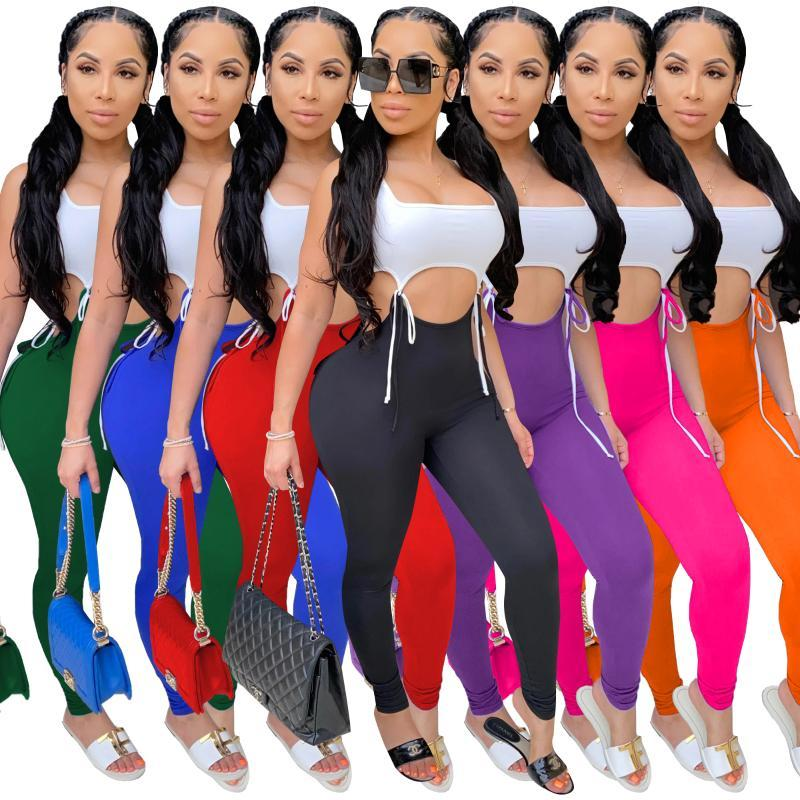 JRRY Women Tracksuits Two Pieces Set Sleeveless White Crop Top Long Pants Solid Pattern Skinny Sports Suit Casual Outdoor Wear
