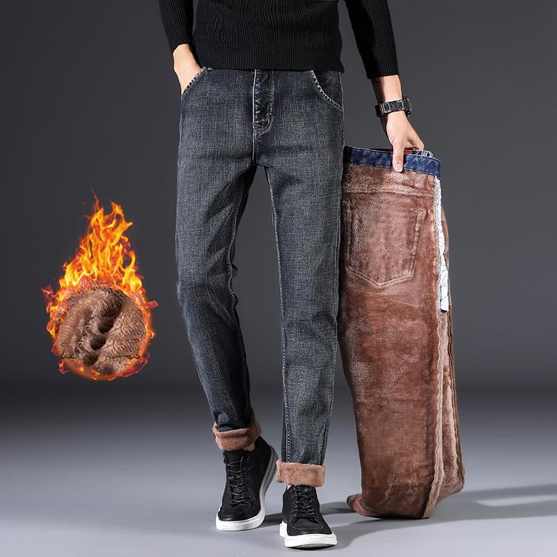 2019 de Nova Homens Inverno Quente Casual Jeans Negócios Elasticidade Grosso Magro Denim Pants Marca calças pretas Plus Size 40