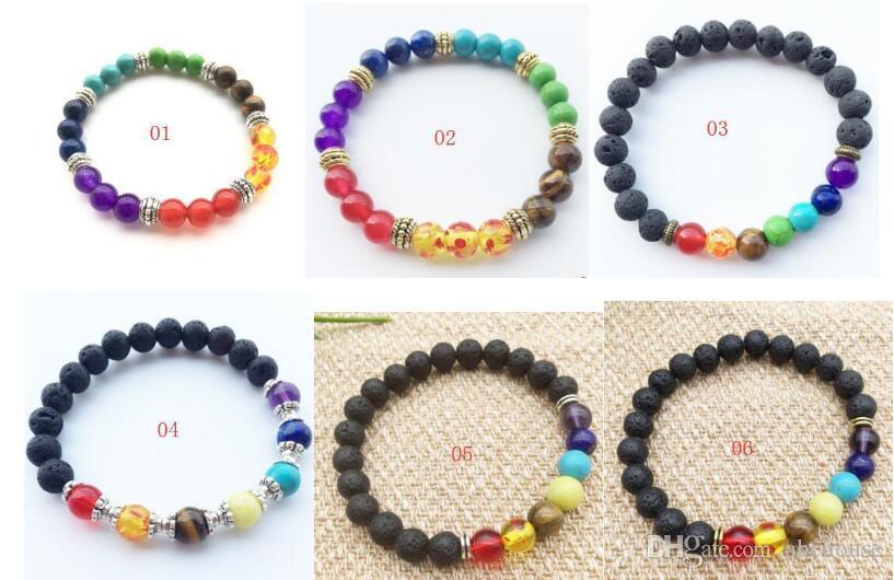 Natürliche schwarze Lava Stein Armbänder 7 Reiki Chakra Heilung Balance Perlen Armband Für Männer Frauen Stretch Yoga Schmuck
