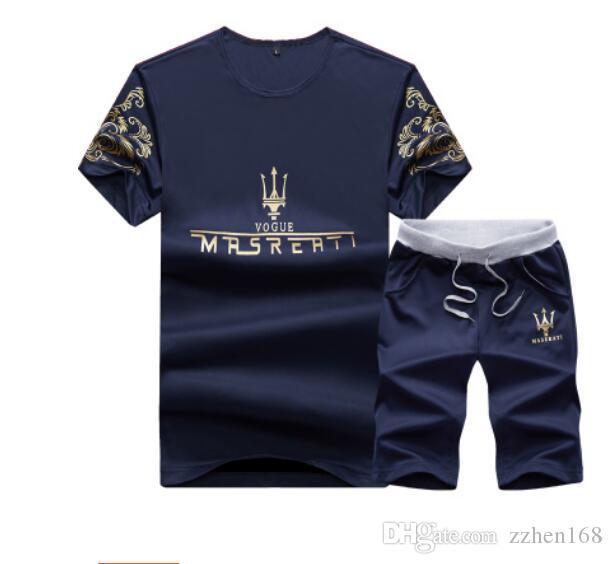Estate Uomo Tute Maserati disegno stampato Mens tute casuali dimagriscono POLO Pantaloncini Due Pezzi Abiti Hommes Sportsuits abiti da uomo