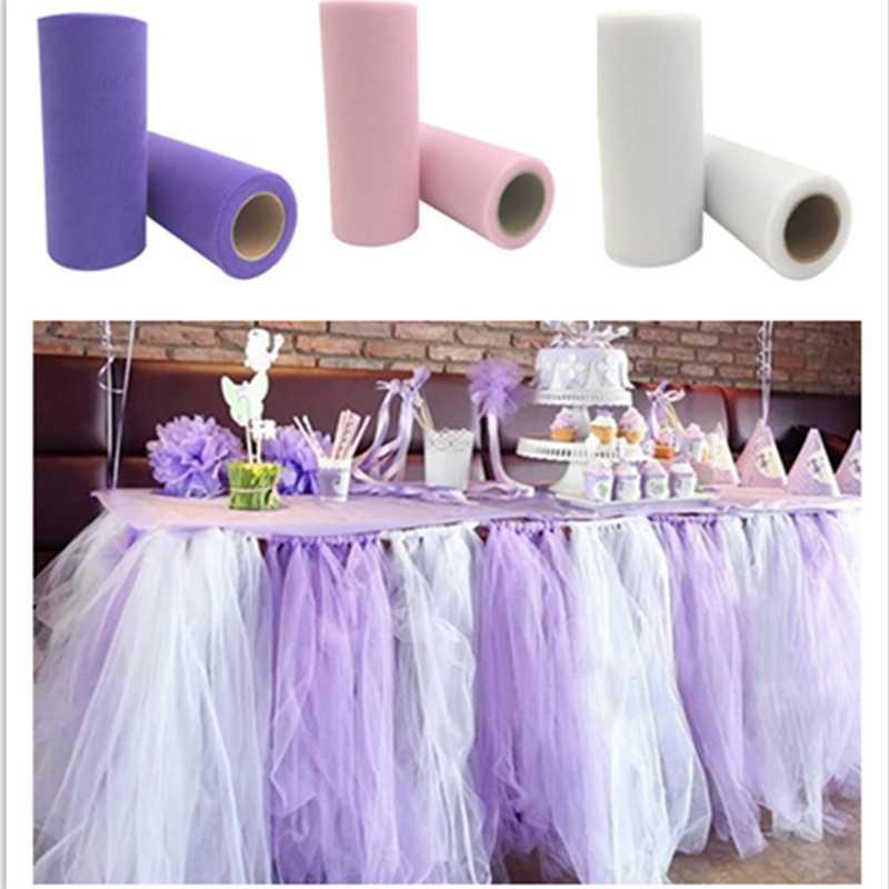 Hot Sale 22mX15cm Tissue Tulle Roll Spool Festive Supplies Craft Table Runner Organza Sheer Gauze Wedding Party Decor 5z