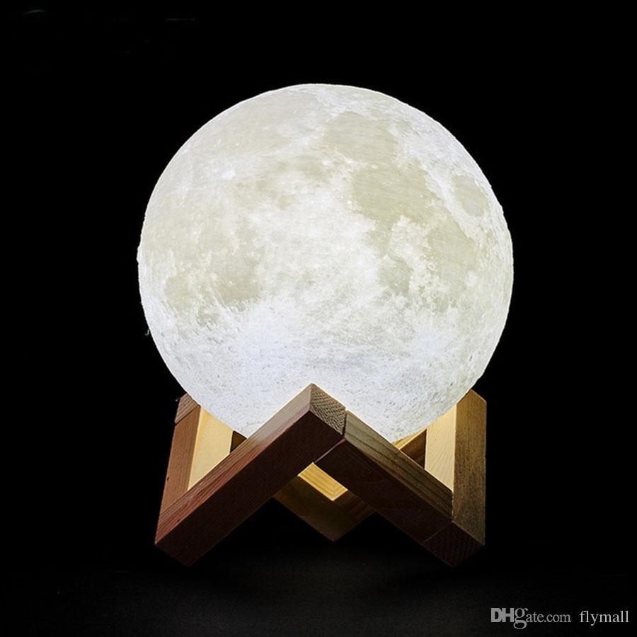 3D Print USB rechargeable Lune Lampe LED Night Light Creative Interrupteur tactile Moon Light lampe de bureau pour chambre à coucher Décoration Lumières de Noël
