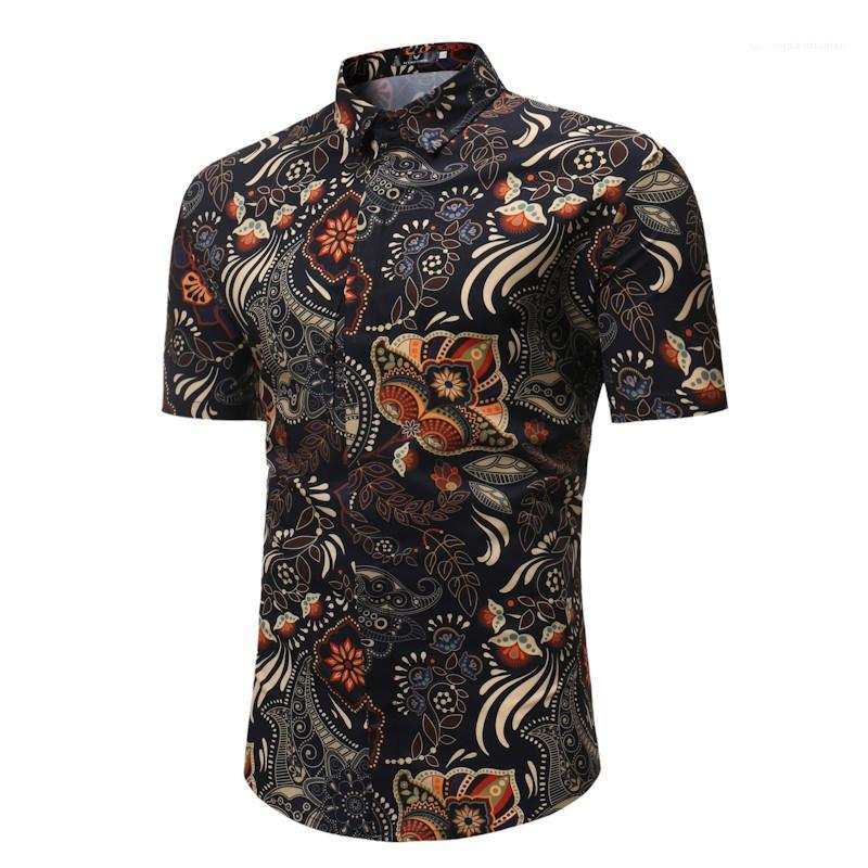 Manga curta slim camisas Verão New Style Mens Clothing Floral Mens Impresso Designer T-shirts moda Turn Down Collar