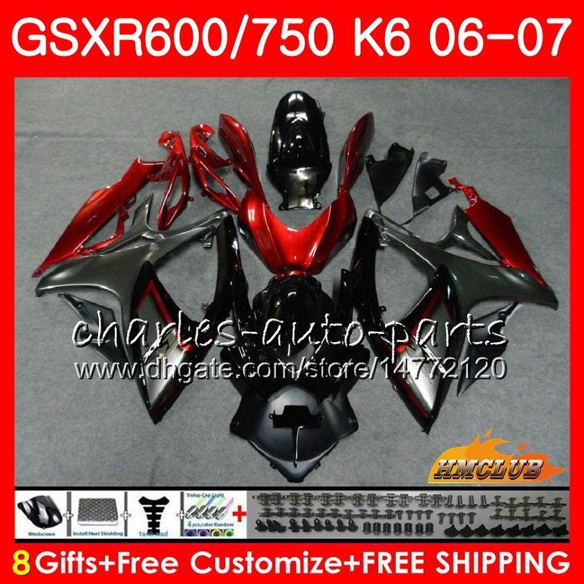 Suzuki GSX R600 GSX R750 GSXR600 2006 2007 8HC.68 GSX-R600 GSXR-750 K6 GSXR 600 750 06-07 GSXR750 다크 레드 그레이 06 07 페어링 키트