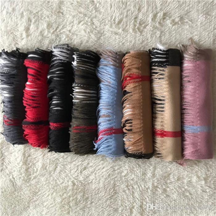 Großhandel Winter Kaschmirschal High-Grade Weichstarke Kaschmir SCARV Klassische Lange Quaste Schal Männer Frauen Marken Schal Schals 200 * 70 cm