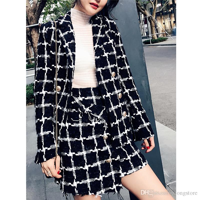 2019 Autunno in bianco e nero Plaid Tweed Suit Set donne elegante doppio petto Tassel Trim Donne giacca lunga Coat + insiemi di lana Gonna