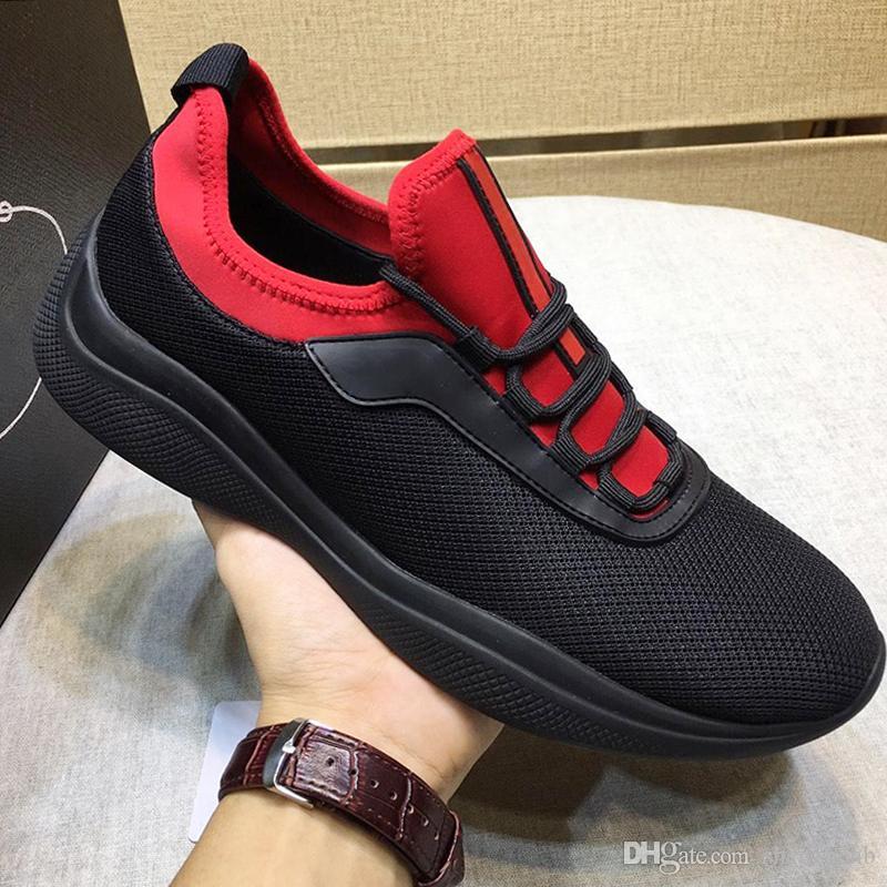 Prada Высококачественные сетчатые и неопреновые кроссовки Мужская обувь Осень и Зима Удобная дышащая роскошная повседневная обувь на шнуровке Zapatos de hombre