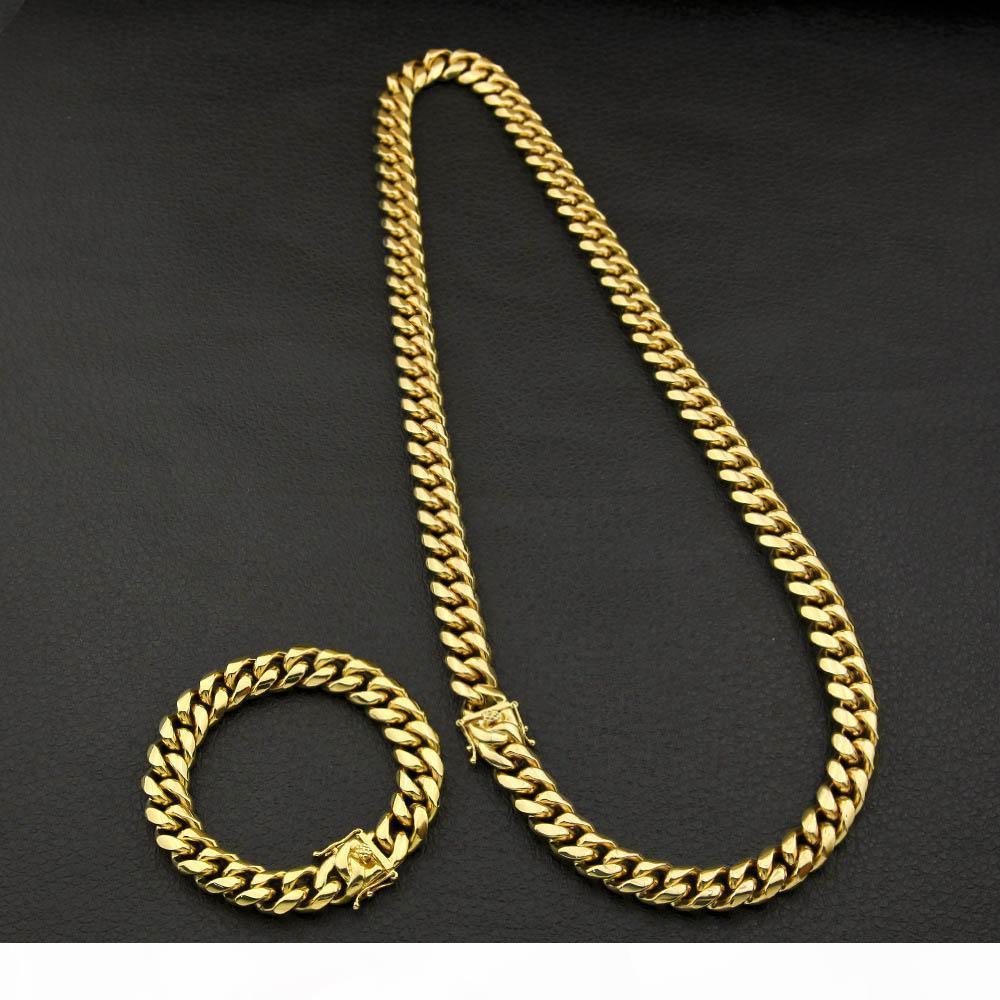 30inches chaîne cubaine en acier inoxydable pour homme Collier Bracelet Set Hip Hop Color Protection Or Boucle Cuba Colliers Ensembles de bijoux