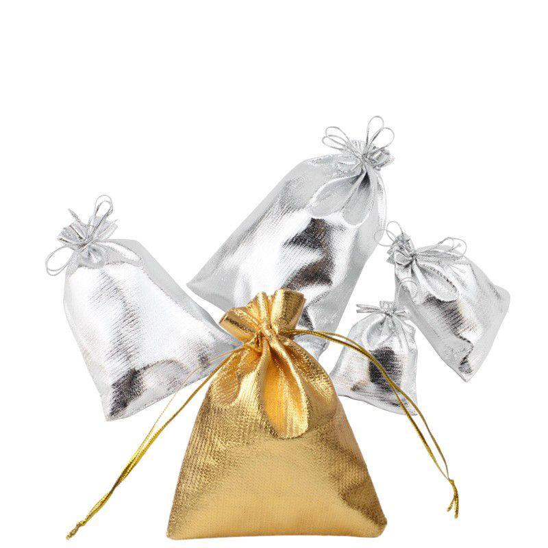 50pcs / lot argento stagnola di stoffa di stoffa con coulisse borse piccoli gioielli sacchetti organizzatore raso regalo di nozze di natale sacchetto sacchetto dei monili