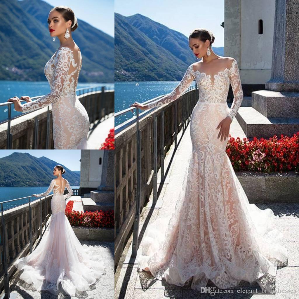 긴 소매를 가진 Milla Nova Backless 결혼식 복장 인어의 얇은 뾰족한 목 트럼펫 신부 가운 면도칼 Tulle Lace Wedding Dress