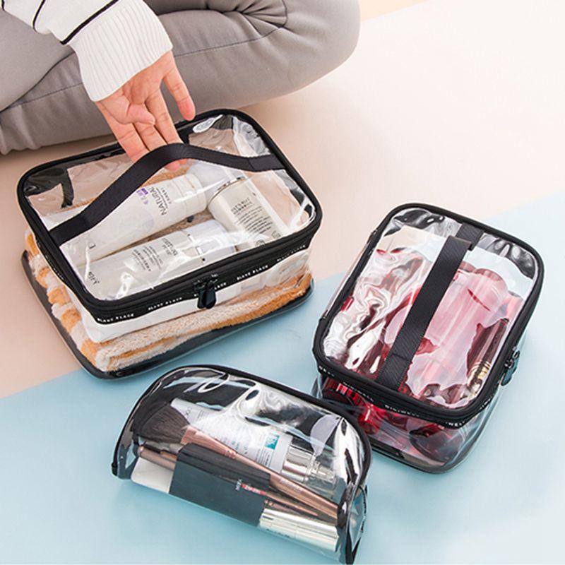 Impermeável PVC transparente Bath Cosmetic Bag as mulheres constituem caso do curso Zipper Wash Organizador de Higiene Pessoal Kit de armazenamento