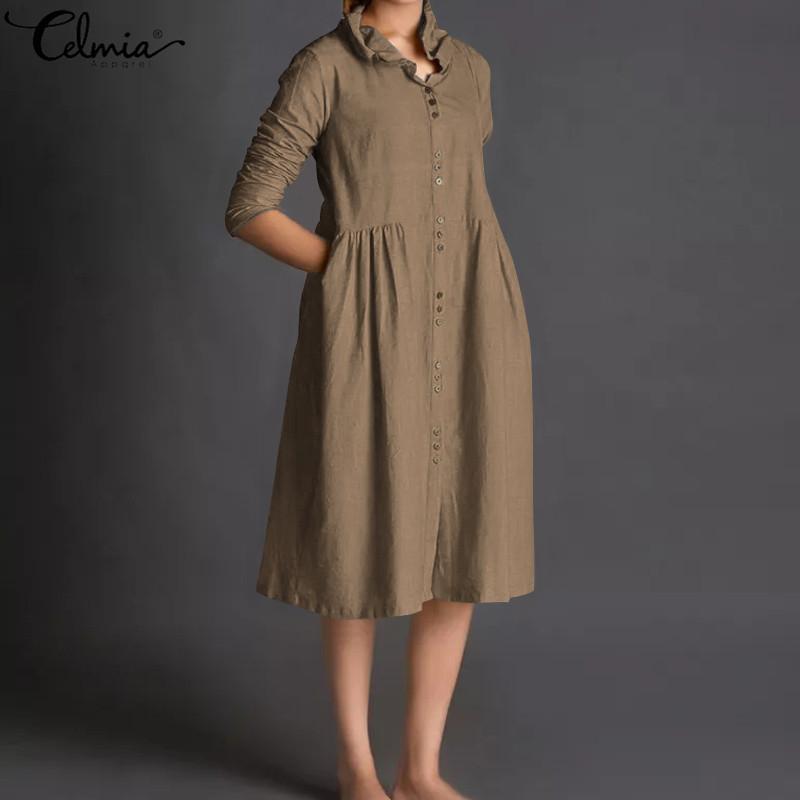 Celmia 2019 Mujeres Cardigan Vestido de lino de la vendimia Botones de manga larga Suelta Camisa plisada Vestido Casual Vestidos Femme Plus Tamaño 5XL