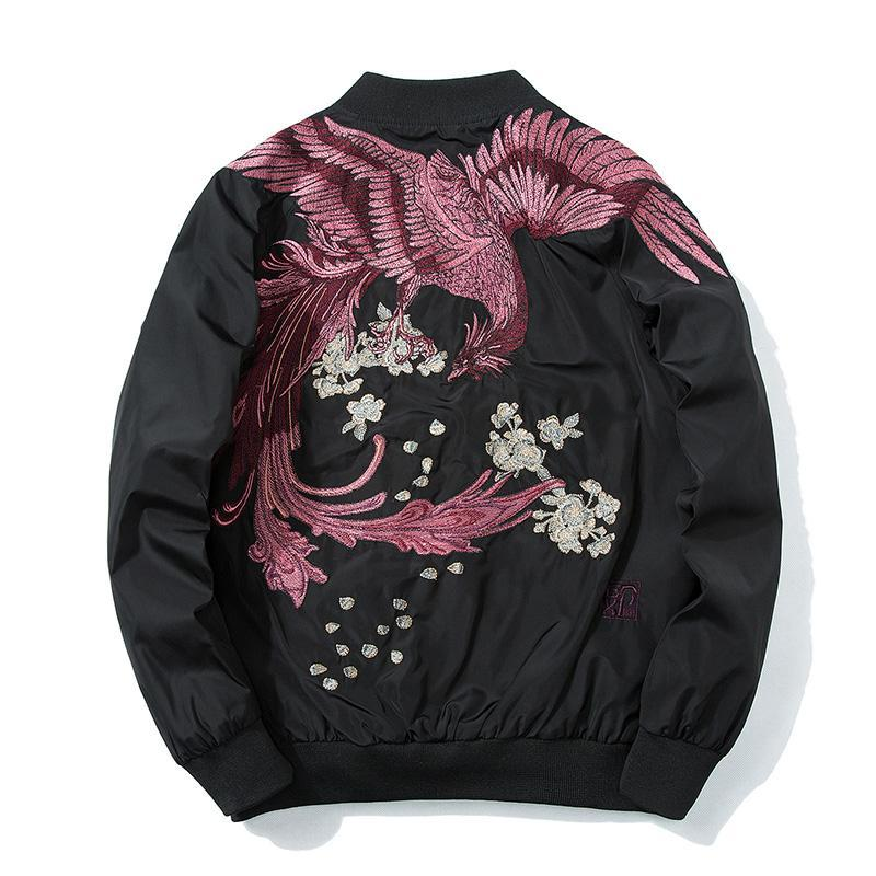 Spring Chinese style Embroidery Baseball Jacket For Men Coats Fashion Hip hop Mens Coat Autumn US Size