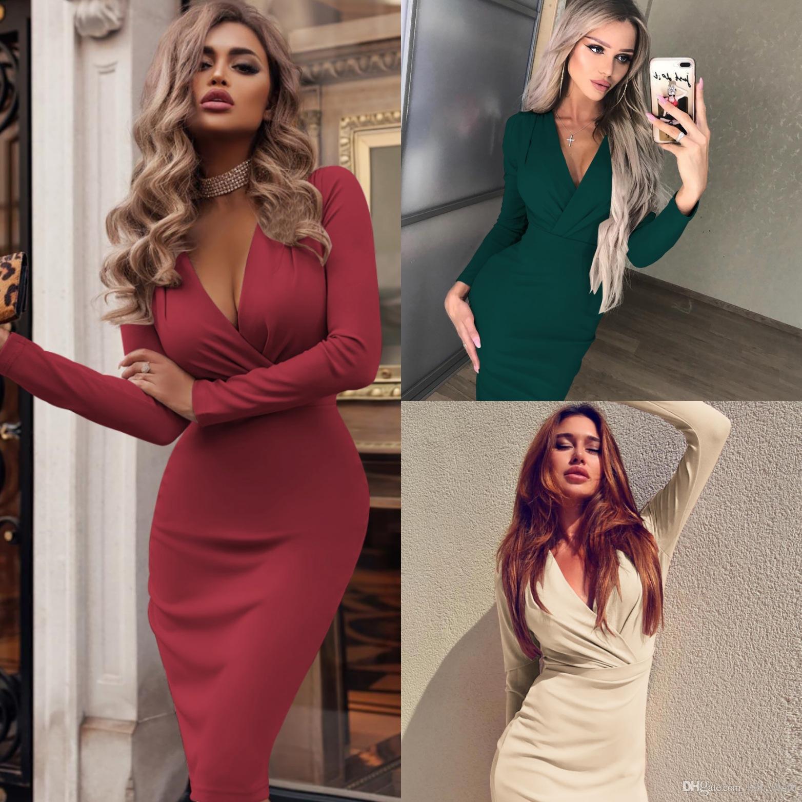 Vestito aderente sexy delle donne profondo scollo a V del partito di sera convenzionale manica lunga Midi abiti caldi più il formato S-XXL cny1547